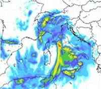 cartina cromatica delle precipitazioni sulla Penisola italiana